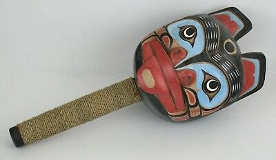 First Nation Style Hand Carved Bear Rattle ~ Excellent Condition ~ Double Sided