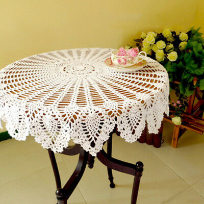 """White Vintage Crochet Cotton Tablecloth Round Lace Table Cloth Topper Floral 35"""""""