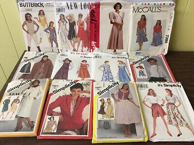 VTG MIXED LOT OF 16, 80's LADIES CLOTHING SEWING PATTERNS MCCALLS SIMPLICITY