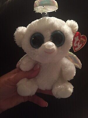 61da60c02ca RARE 6 Inch HALO THE WHITE ANGEL BEAR TY BEANIE BOO RETIRED NEW WITH TAGS!