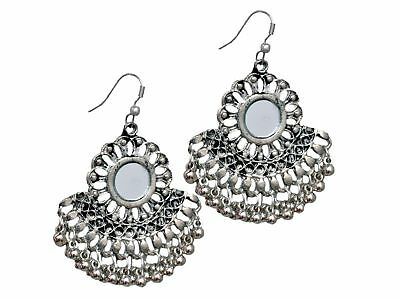 Jewelfy Indian  Silver Oxidized Pearl Earrings Bridal Mirror Afghani Jewelry