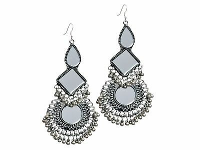 Silver Oxidized Afghani Earrings Indian Jhumka Women Jhumki Fashion Jewelry