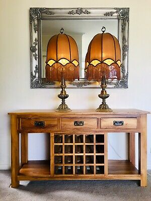 Pair of Bedroom Bedsides Tables Sideboard  Brass Lamps