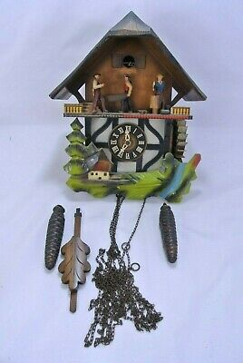 12-69 German Musical Cuckoo Clock Tiroler Holzhacker'buab Black Forest
