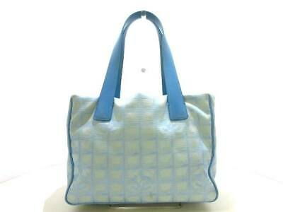 85f54219b0b4 Auth CHANEL New Travel Line Tote PM Light Blue Beige Nylon Jacquard Leather