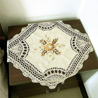 Vintage Crochet Lace Doily Hand Embroidered Square Tablecloth Ecru Floral 16inch