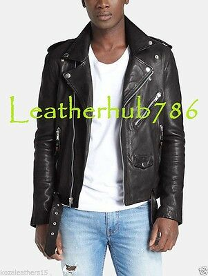 Quilted Jacket Men Handmade Indian Lambskin Leather Biker Motorcycle Party 93