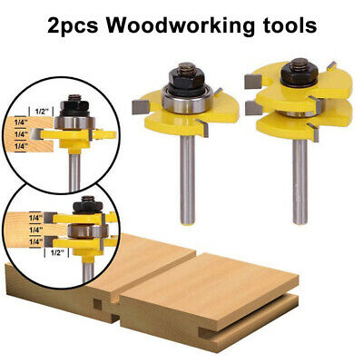 2x Shank 3Teeth Tongue & Groove Router Bit Milling Cutter For Woodworking Tool