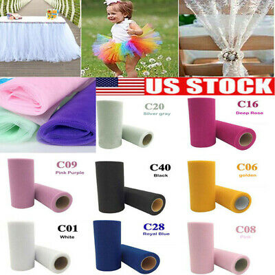 "6""x25/100Y Tulle Roll Spool Tutu Wedding Gifts Craft Party Decoration Fabric USA"