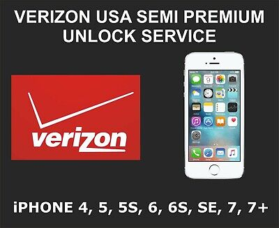 Verizon USA Semi Premium Unlock Service, fits iPhone 4, 5, 5S, 6, 6S, SE, 7, 7+