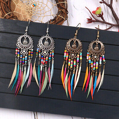 Ladies Vintage Rainbow Feather Dangle Drop Hook Earrings Fashion Jewelry G