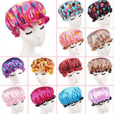 Women Shower Caps Colorful Bath Shower Hair Cover Adults Waterproof Bathing EO