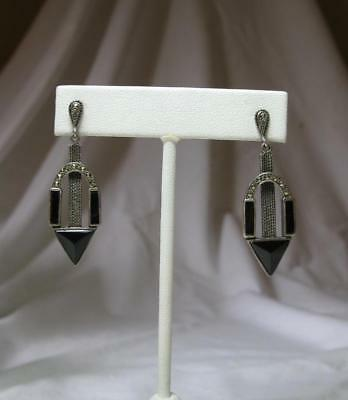 Art Deco Earrings Black Onyx Marcasite Sterling Silver Germany c1920 Rare