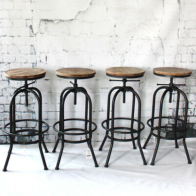 Vintage Industrial Bar Stool Metal Height Adjustable Wood Seat Swivel Chair Z3T3