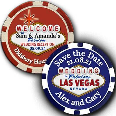 🎰Personalised Casino Poker Chips Save the Date Fridge Magnets Wedding