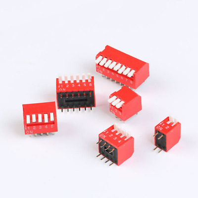 Slide DIP Type Lateral Switch Module 2 3 4 5 6 8 Bit 2.54mm Red Toggle Switch