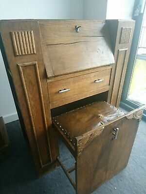 Unique Antique Writing Bureau With Leather Stool And 1 Drawer