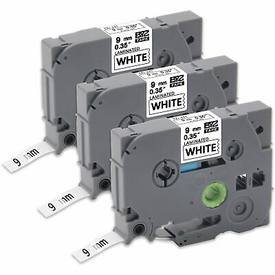 """30PK TZe221 9mm 0.35"""" Label Tapes Compatible for Brother P-Touch PT-D210 PT-D600"""