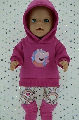 """Play n Wear Doll Clothes To Fit 17"""" Baby Born HOT PINK HOODIE~LEGGINGS~BOOTS"""