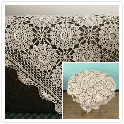 Vintage Hand Crochet Tablecloth Square Lace Table Cloth Doily Floral 31-33inch