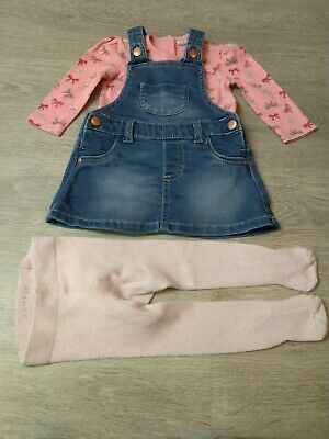 Ex M/&S Baby Girls Red Woodland Pinafore Dress Bodysuit Tights Outfit 0-24 £20