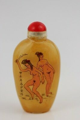 Vintage Erotic Chinese Inside Painting Glass Snuff Bottle  Figures 7.5cm SIGNED