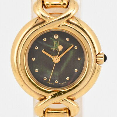 f0f478aa90d Auth FENDI 700L Black Shell Dial Gold Plated Quartz Women s Watch L 84143