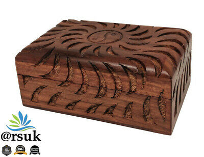 Jewelry Box Hand Carved and Inlay Wooden Storage Box - Yin and Yang Design