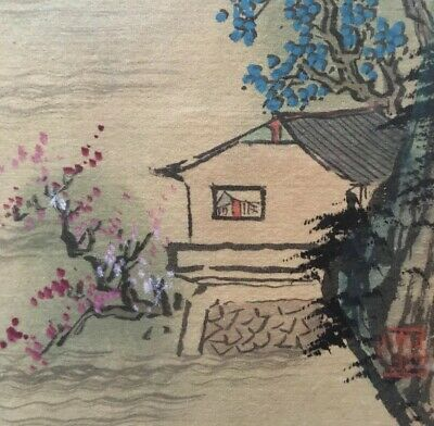 2 Vintage Chinese / Japanese Watercolour Painting on Silk signed framed 12 X 10""