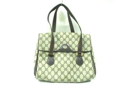 7c94a67ca124 AUTH GUCCI CRYSTAL GG 265692 Beige DarkBrown Coated Canvas Leather ...