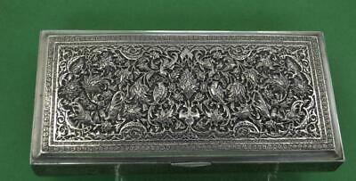 Vintage Persian silver Cigarette box Fine Chased details c 1962 424 gr superb