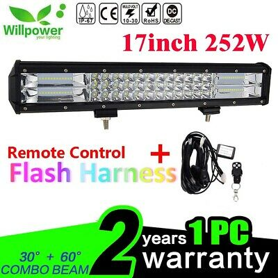 7D 18inch 252W LED Light Bar for Offroad JEEP Car SUV ATV +Remote Wiring Harness