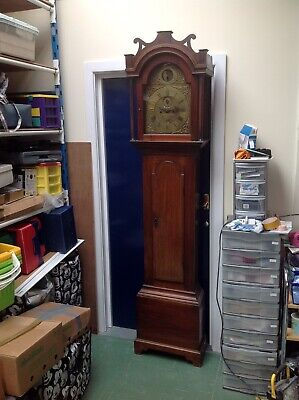 Oak Grandfather Clock With Whales Tails On Hood 8 Day Looks To Be Very Original