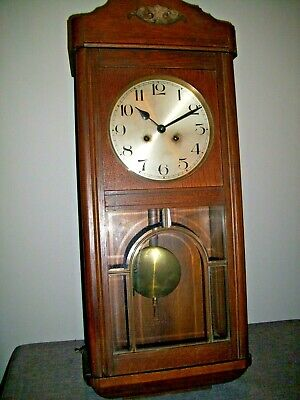 Antique 1930's Oak Cased Wall Clock with Pendulum and Key (Glass Paneled Door)