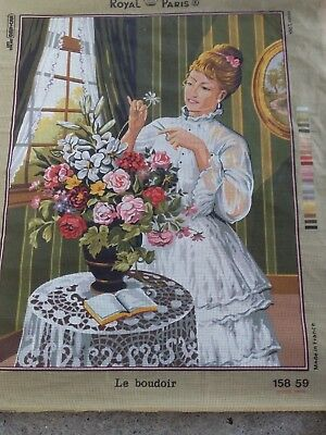 Le Boudoir  (Bedroom/sitting Room) Lady Flowers Tapestry Canvas  Made In France