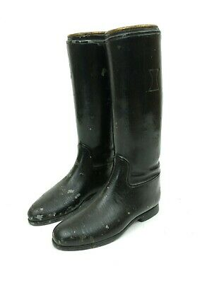 Antique 1920s Cast Metal Boot Pair Black English Style Riding Boots Vintage