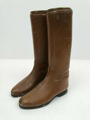 Antique 1920s Cast Metal Boot Pair Brown English Style Riding Boots Vintage