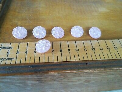 Vintage decorated pink pearlised glass shanked art deco buttons lot set of six.