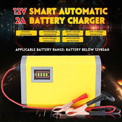 12V 2A Smart Battery Charger Intelligent Car Boat Motorcycle Motorbike Automatic