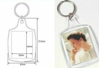 NEW Plastic BLANK KEY RINGS 45 x 35 mm Insert  PASSPORT PHOTO SIZE(wholesale