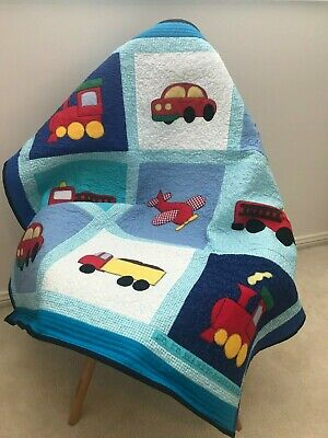 """Vehicles"" Handmade Patchwork Baby Quilt Set / Play Rug - Baby Boy- Nursery -"