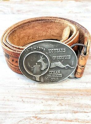 1978 Vintage Lyman Belt & Buckle Hunting Pewter Leather Tooled Bell Tully Buck