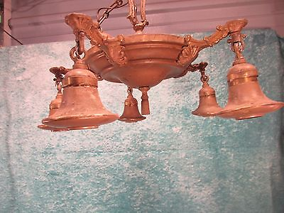 Antique Chandelier 5 light fixture art deco cast metal beautiful Needs Rewired!