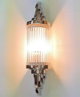 Antique Old Vintage Art Deco Nickel Brass & Glass Ship Light Wall Sconces Lamp