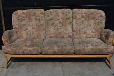 Vintage 1970s Ercol 766/3 Jubilee Blonde Beech Spindle Back 3 Seater Sofa