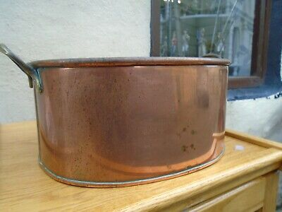 Large vintage French copper pan, , 2 brass handles