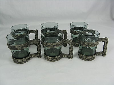 Rare Vintage Norwegian  Cup Becher Set Riddertinn Q.ruud Pewter Hadeland Glass