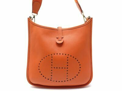 d6ef03cf33 Sac A Main Hermes Evelyne I 29 Cuir Taurillon Clemence Orange Bandouliere  2550€