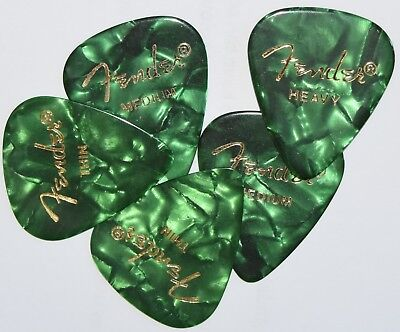 5  x  Fender Guitar Picks Green 351 style Thin, Medium,  Heavy