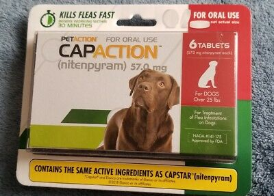 PetAction CapAction for Dogs over 25 lbs + Flea Treatment Nitenpyram 6 Tablets ~